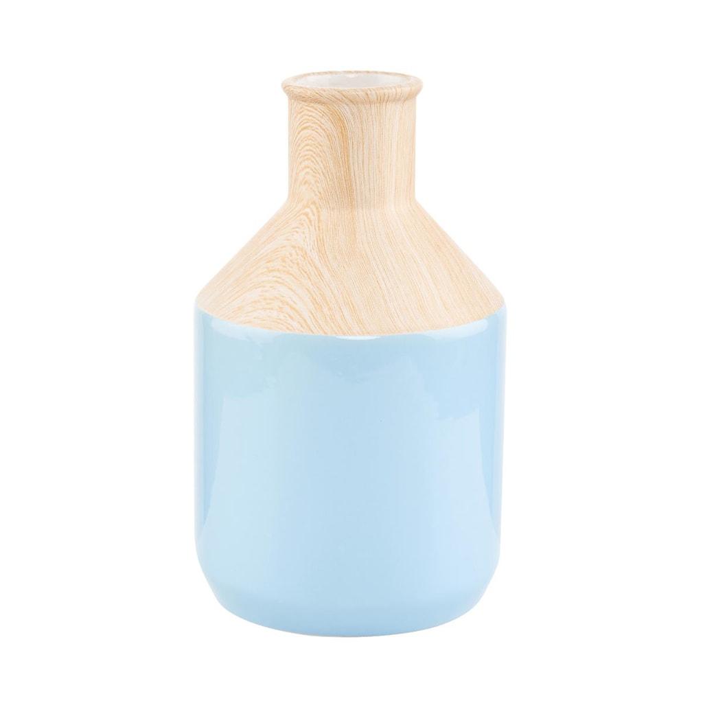 PASTELLO Keramická váza vzhled dřeva - světle modrá