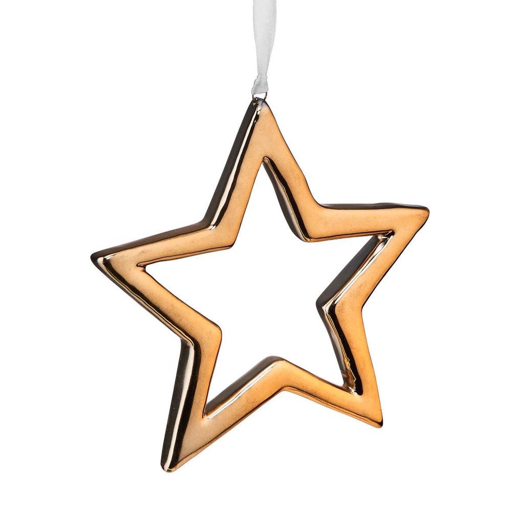 HANG ON Ozdoba keramická hvězda 10 cm - zlatá