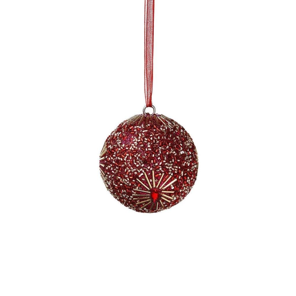 HANG ON Ozdoba vánoční koule s perlami 5 cm - růžová