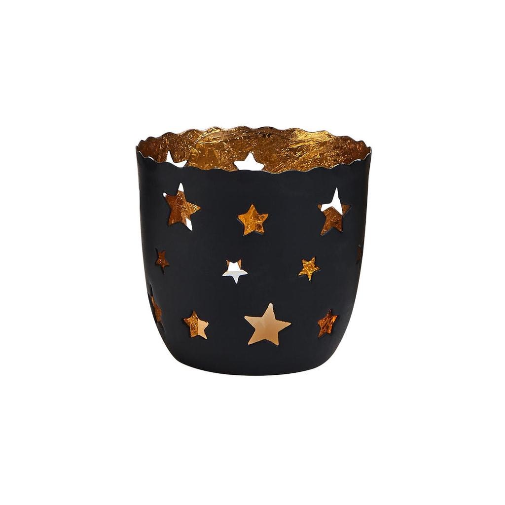 DELIGHT Svícen na čajovou svíčku hvězdy malý - černá/zlatá