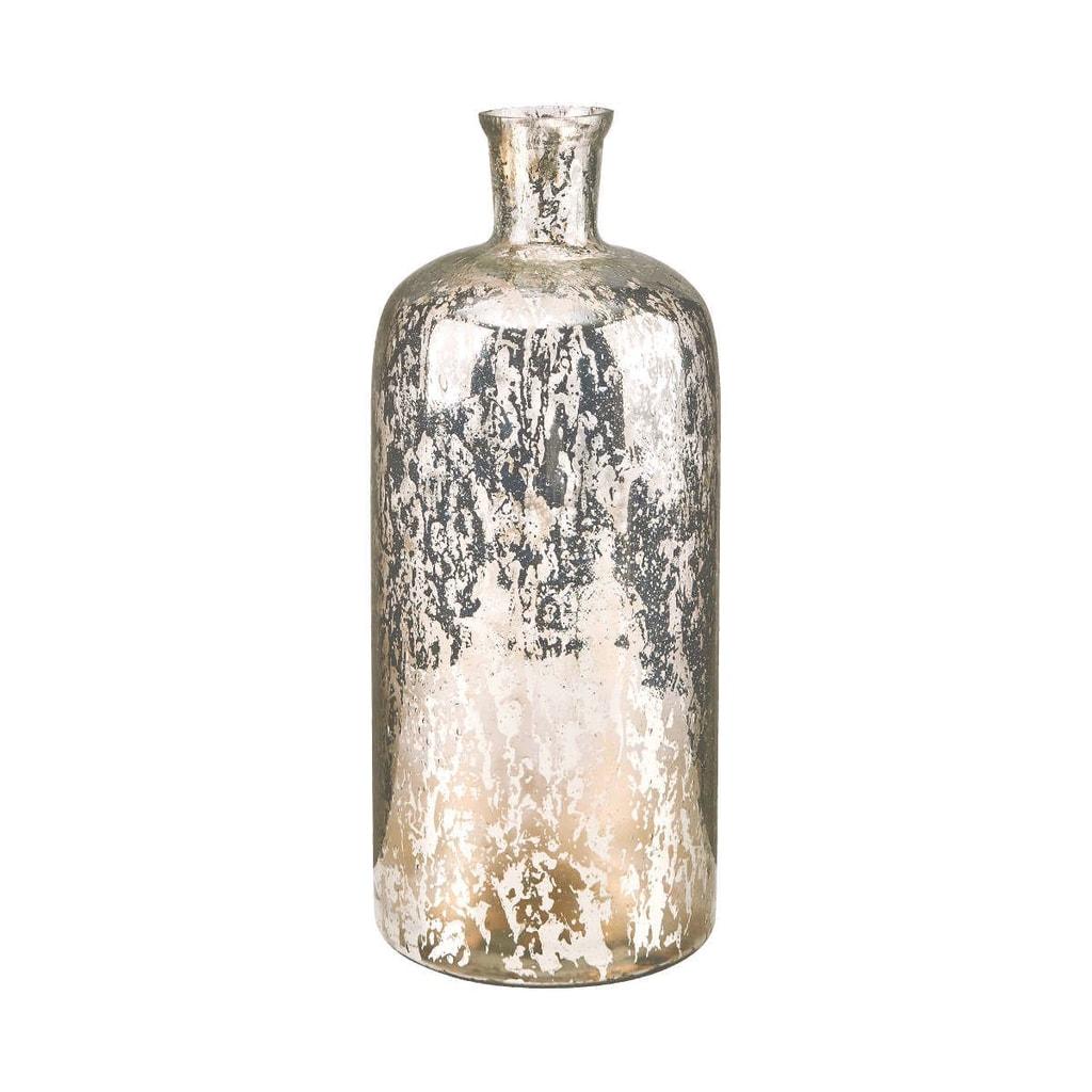 AVA Váza skleněná 33 cm - stříbrná