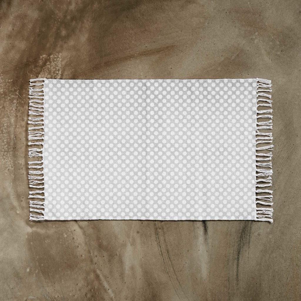 SILENT DANCER Koberec puntíkovaný 60 x 90 cm - šedá/bílá