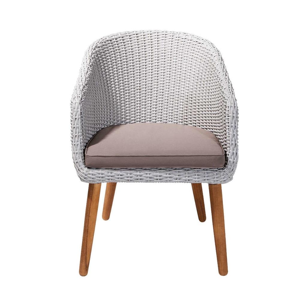 CORBEILLE Židle z umělého ratanu - šedá