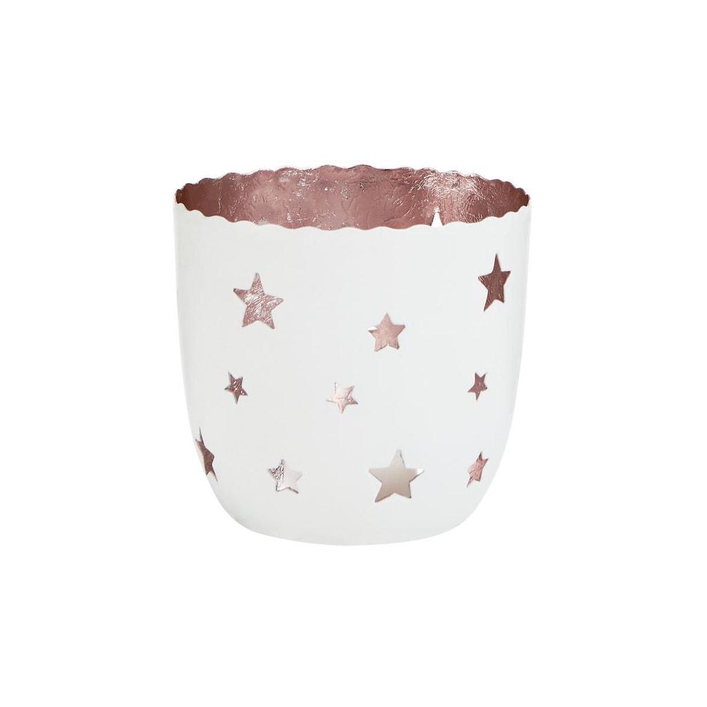 DELIGHT Svícen na čajovou svíčku hvězdy velký - bílá/růžová