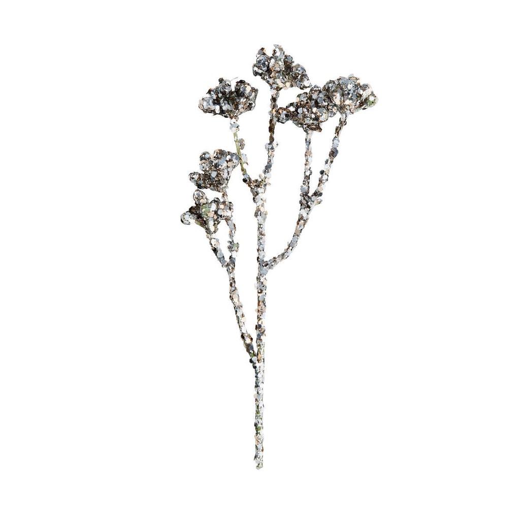 WINTERGREEN  Větvička s bobulkami a třpytkami 25 cm