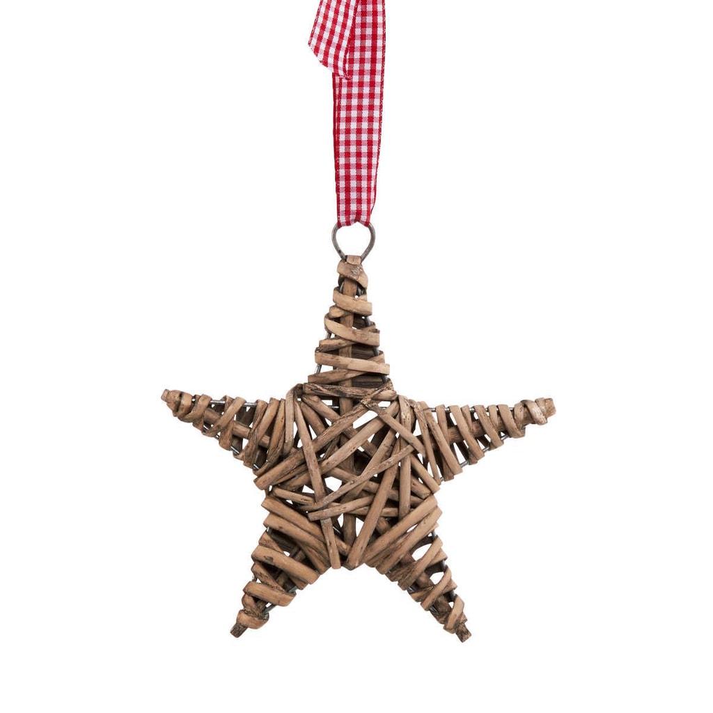 HANG ON Hvězda proutěná 15 cm - přírodní