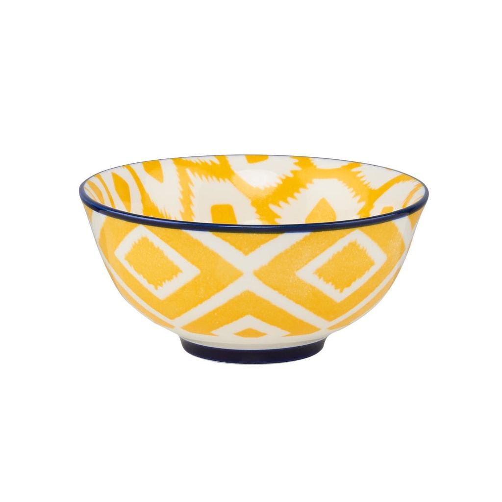 ORNAMENTS Porcelánová miska, 11 cm - žlutá/modrá