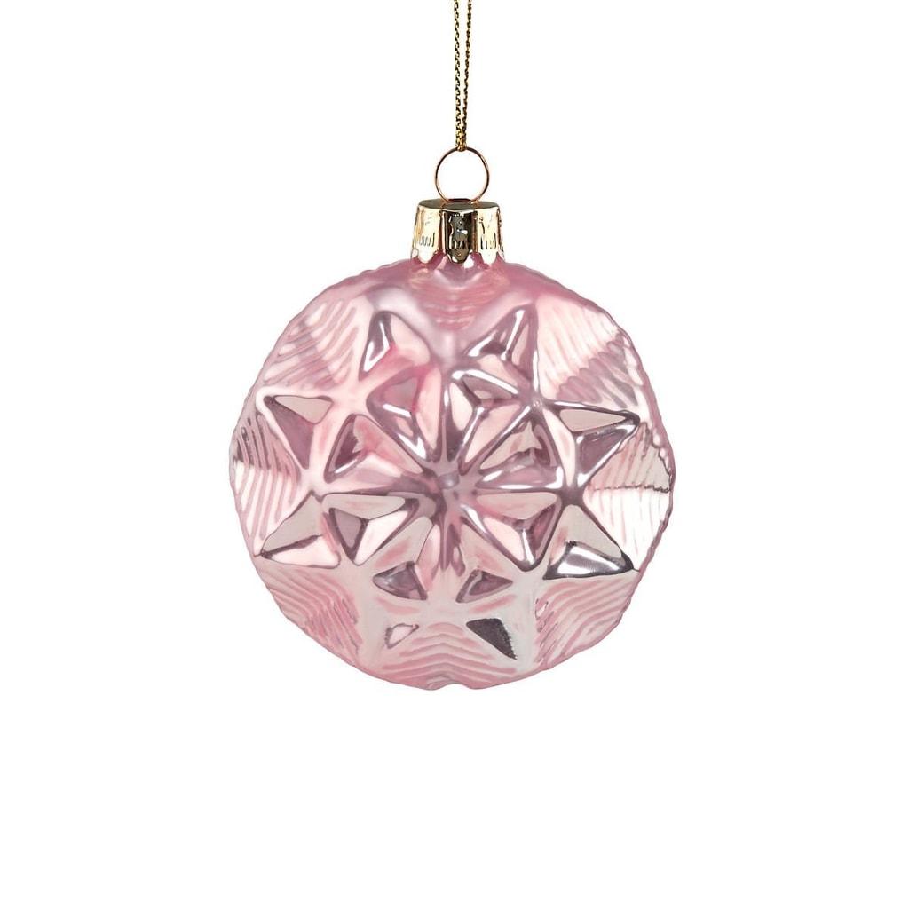 HANG ON Skleněná koule hvězda 8 cm - sv. růžová