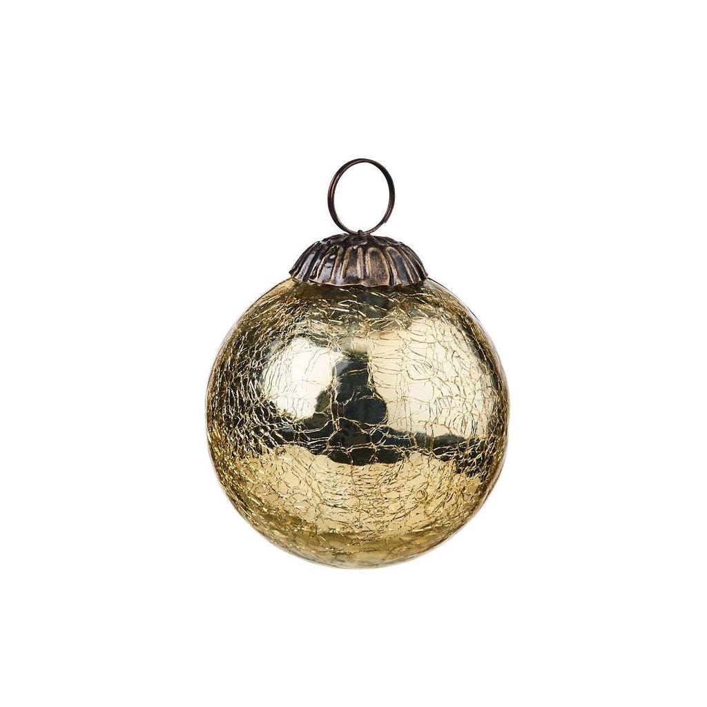 HANG ON Ozdoba koule popraskaná 8 cm - zlatá