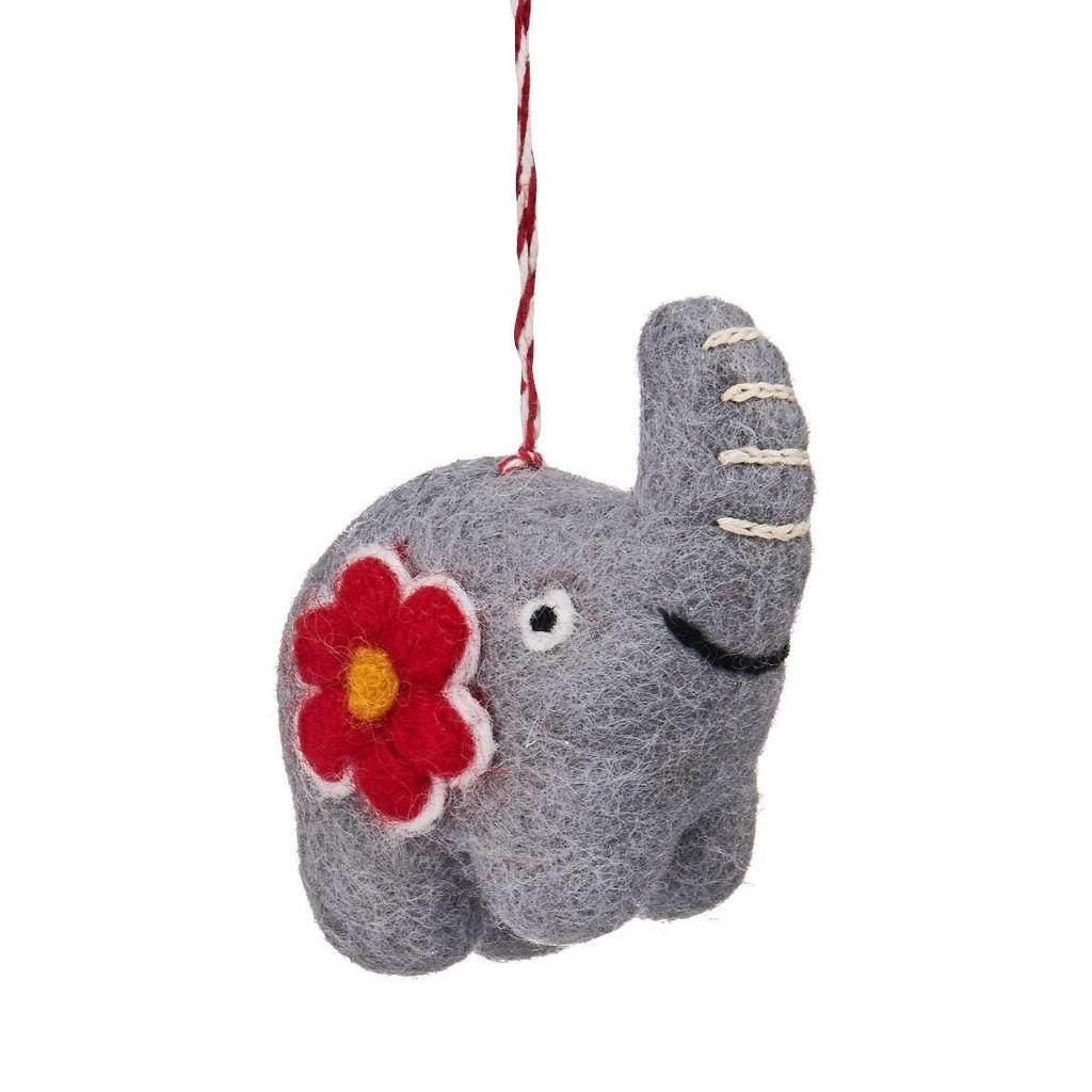 HANG ON Ozdoba filcová slon s květinou