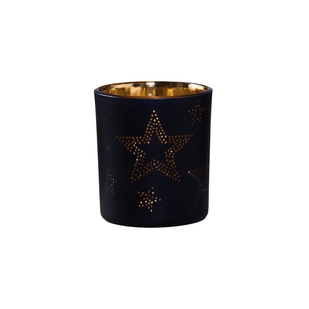 DELIGHT Svícen na čajovou svíčku hvězdy 8 cm - černá/zlatá