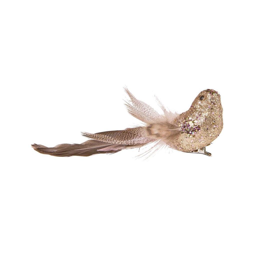 PEACOCK Ptáček se třpytkami a klipem 14 cm - bronzová