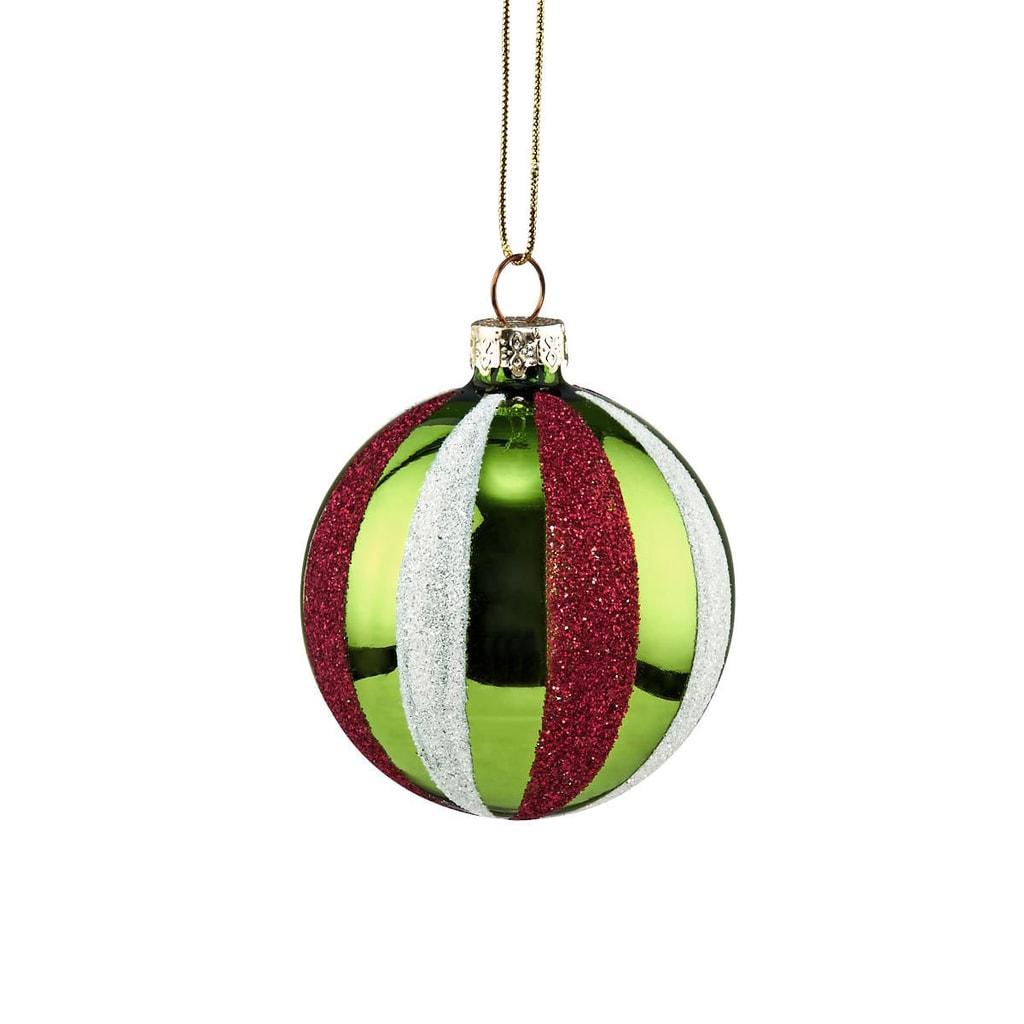 HANG ON Skleněná koule Candy Cane 6 cm - zelená