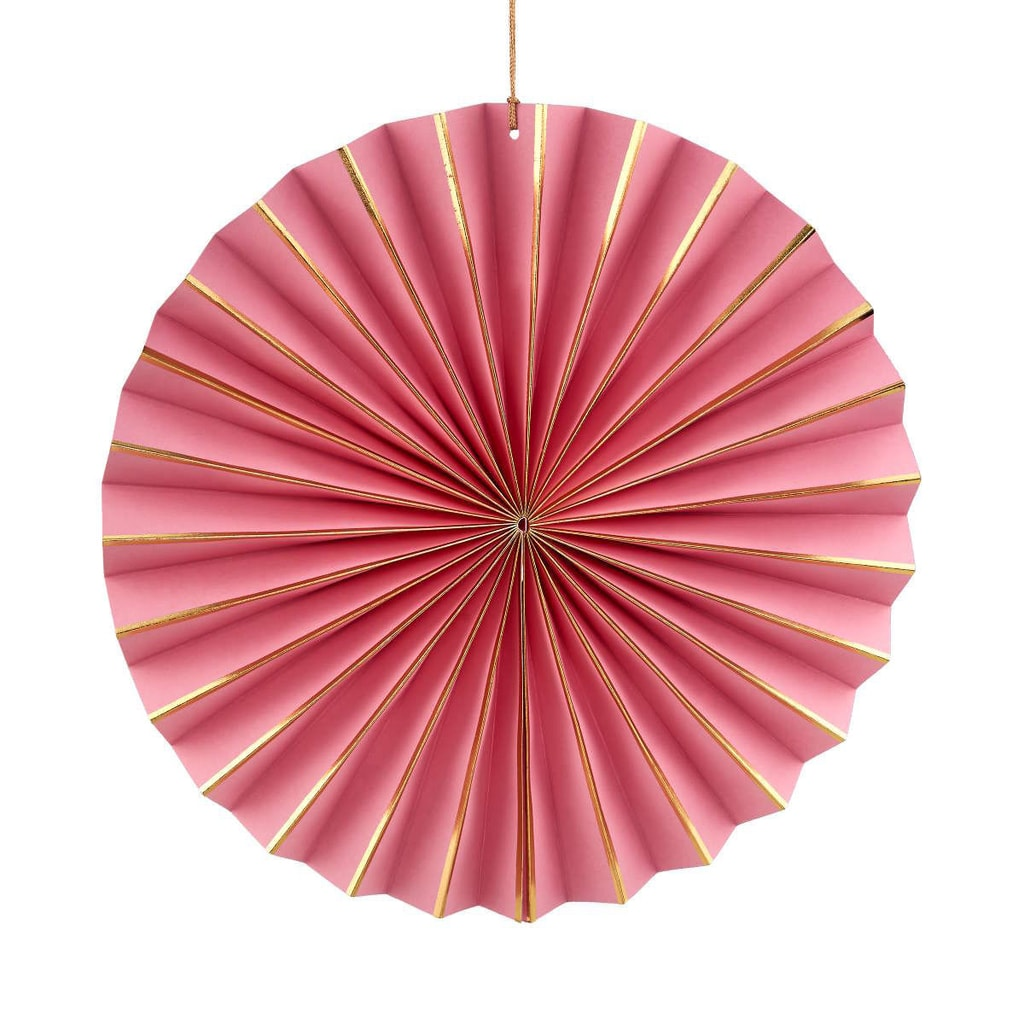 PAPER ART Papírový vějíř 30 cm - sv. růžová