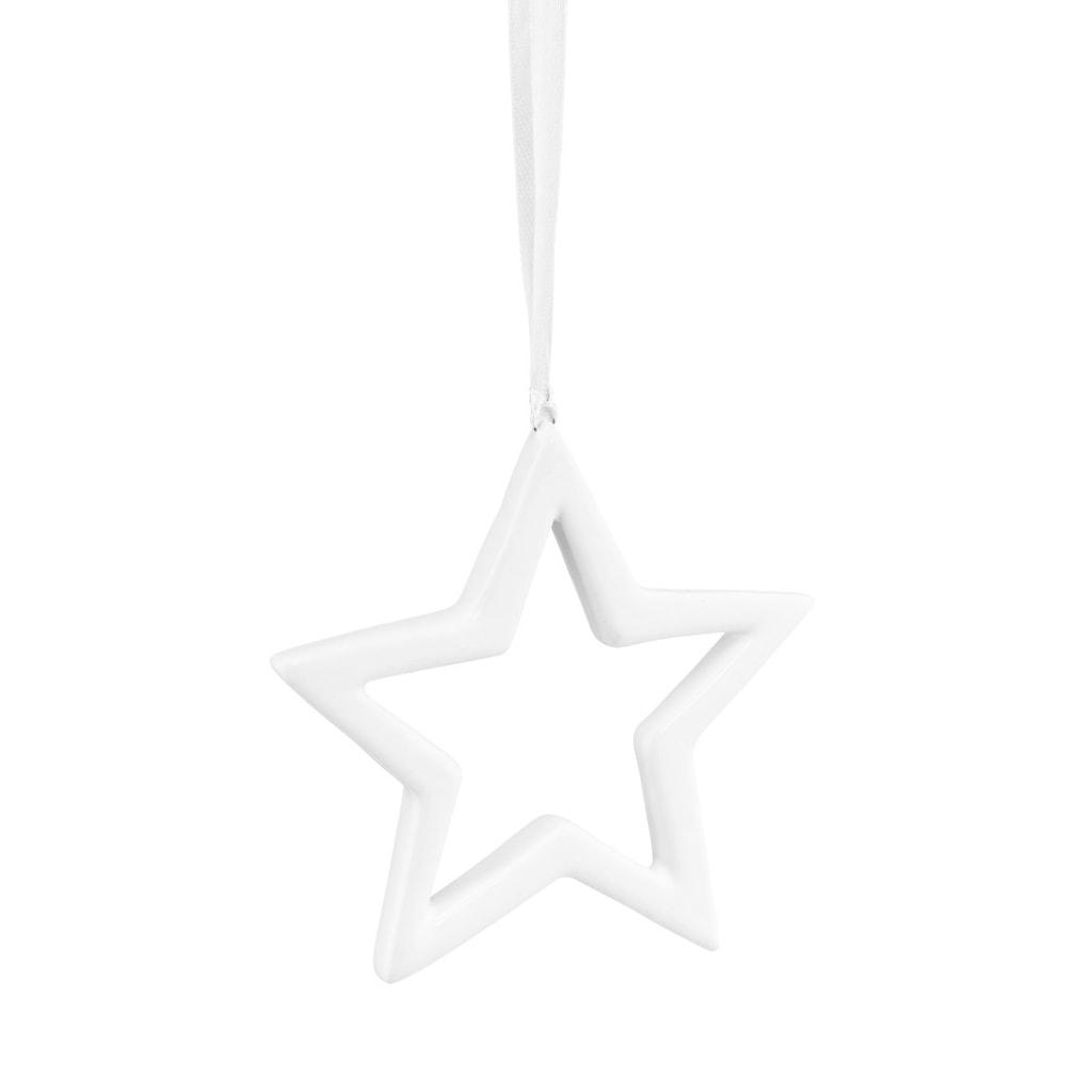 HANG ON Ozdoba keramická hvězda 10 cm - bílá