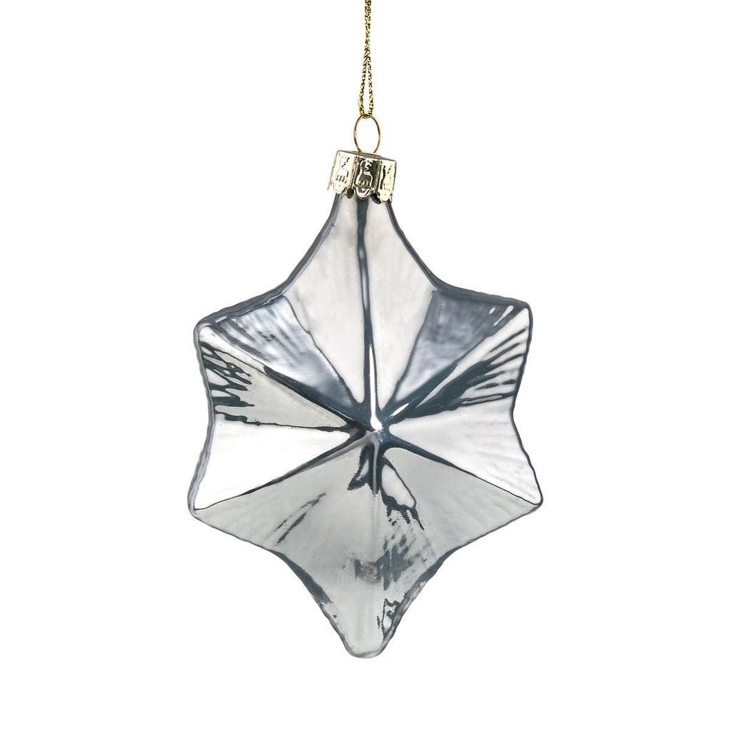 HANG ON Skleněná ozdoba hvězda 10 cm - modrá