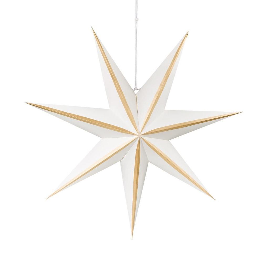 LATERNA MAGICA Papírová dekorační hvězda 60 cm - bílá/zlatá