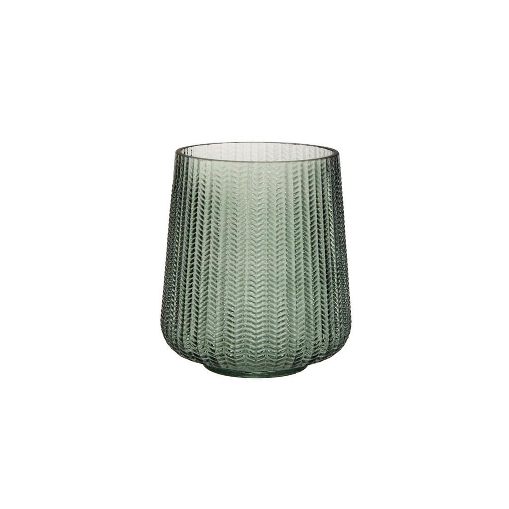 HERRINGBONE Svícen 15 cm - zelená