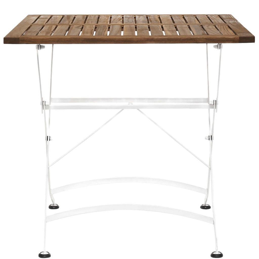 PARKLIFE Skládací stůl 80x80cm - bílá/hnědá