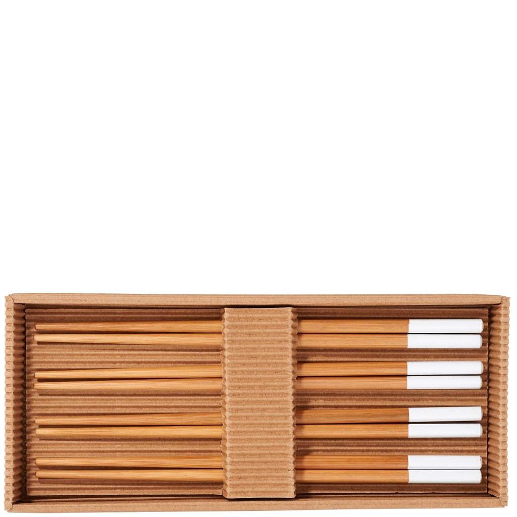 MIKADO Hůlky set, 4 páry - bambus / bílá