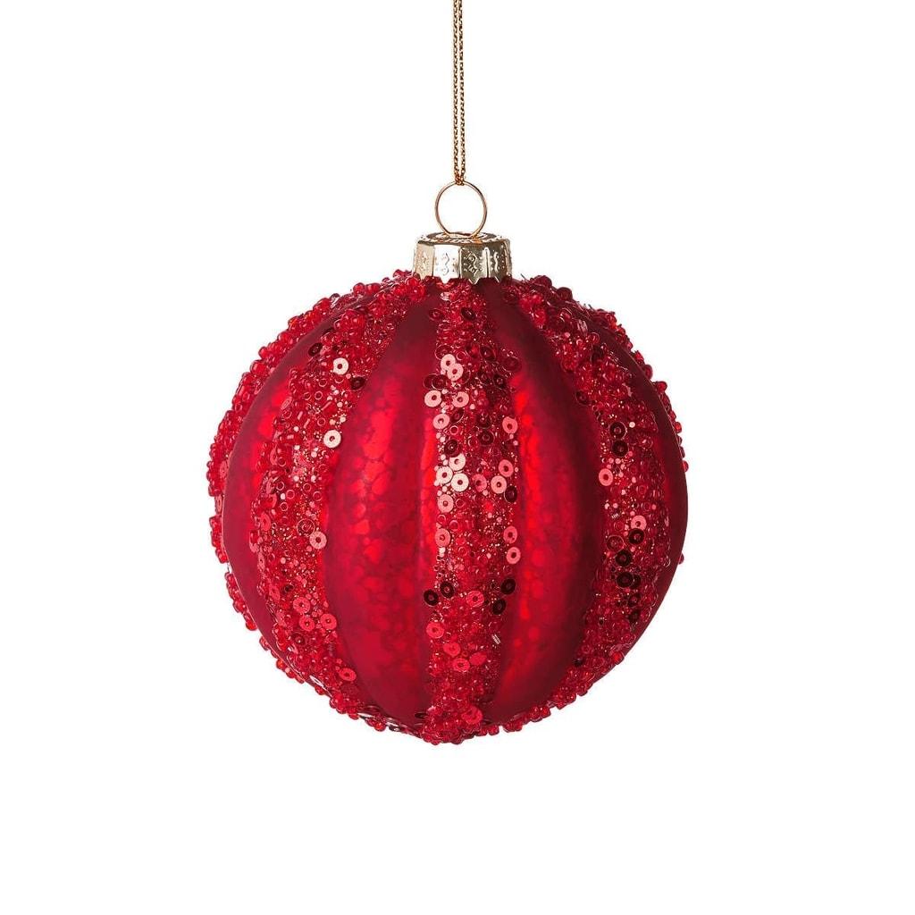 HANG ON Ozdoba vánoční koule třpytivá 7 cm