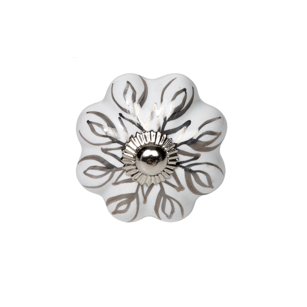 OPEN Nábytková úchytka květina se stříbrnými ornamenty