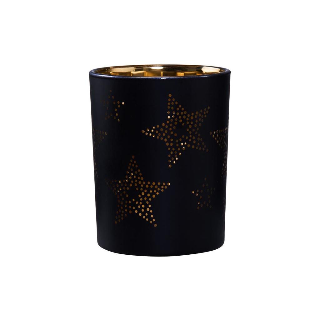 Fotografie DELIGHT Svícen na čajovou svíčku hvězdy 12 cm - černá/zlatá