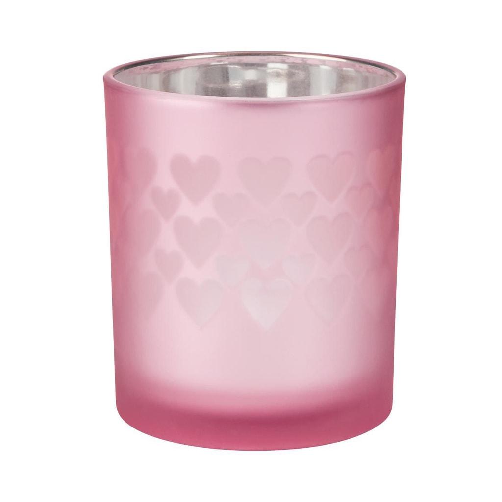 DELIGHT Svícen na čajovou svíčku srdce velký - sv. růžová