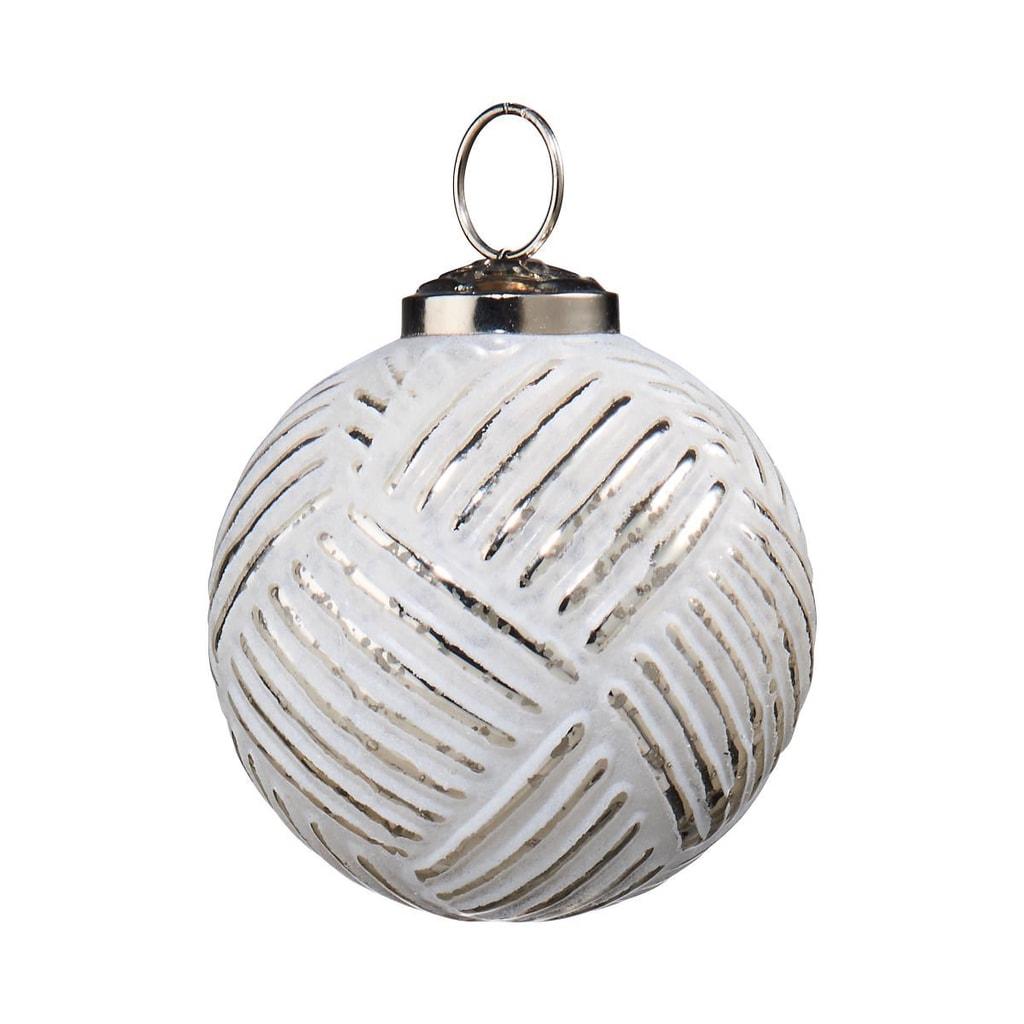 HANG ON Ozdoba skleněná koule 8 cm - bílá