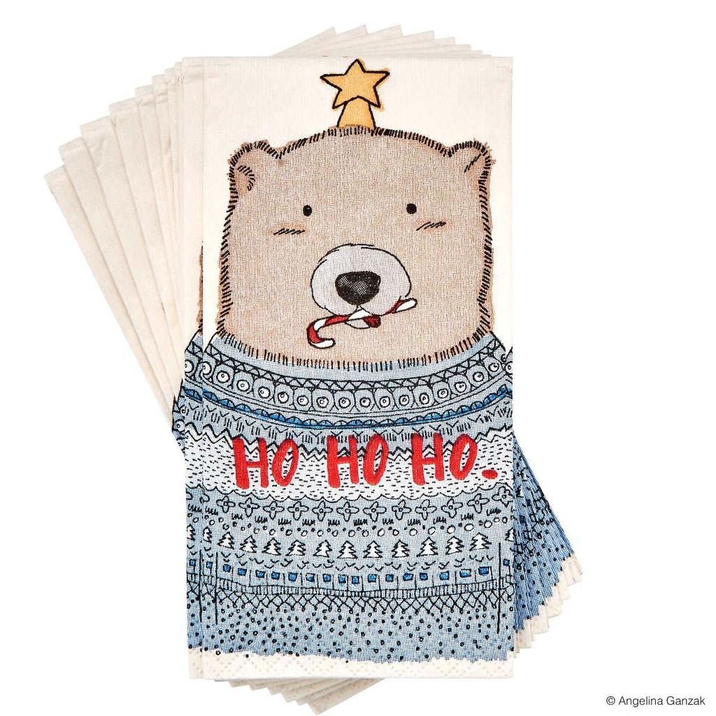 X-MAS Papírové kapesníky medvěd s hvězdou 10 ks