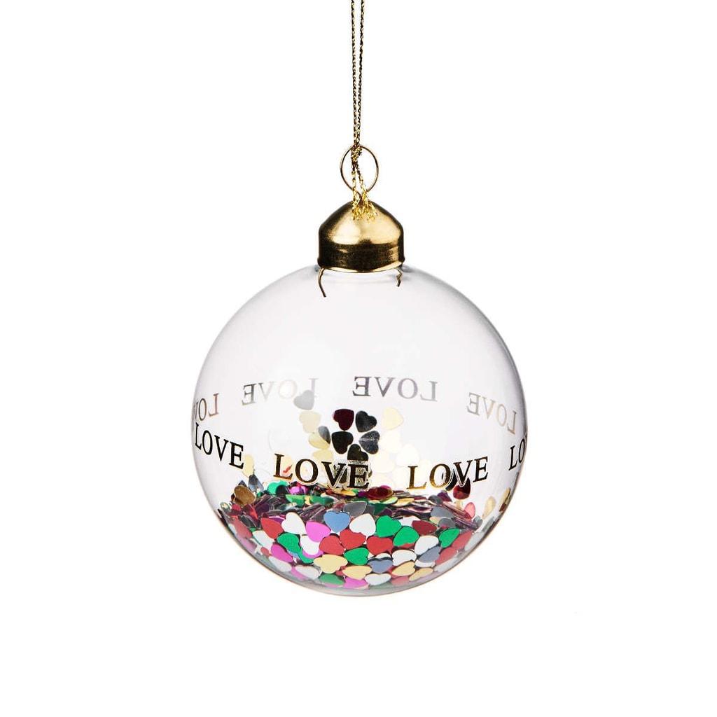 HANG ON Ozdoba vánoční koule konfety srdce 8 cm