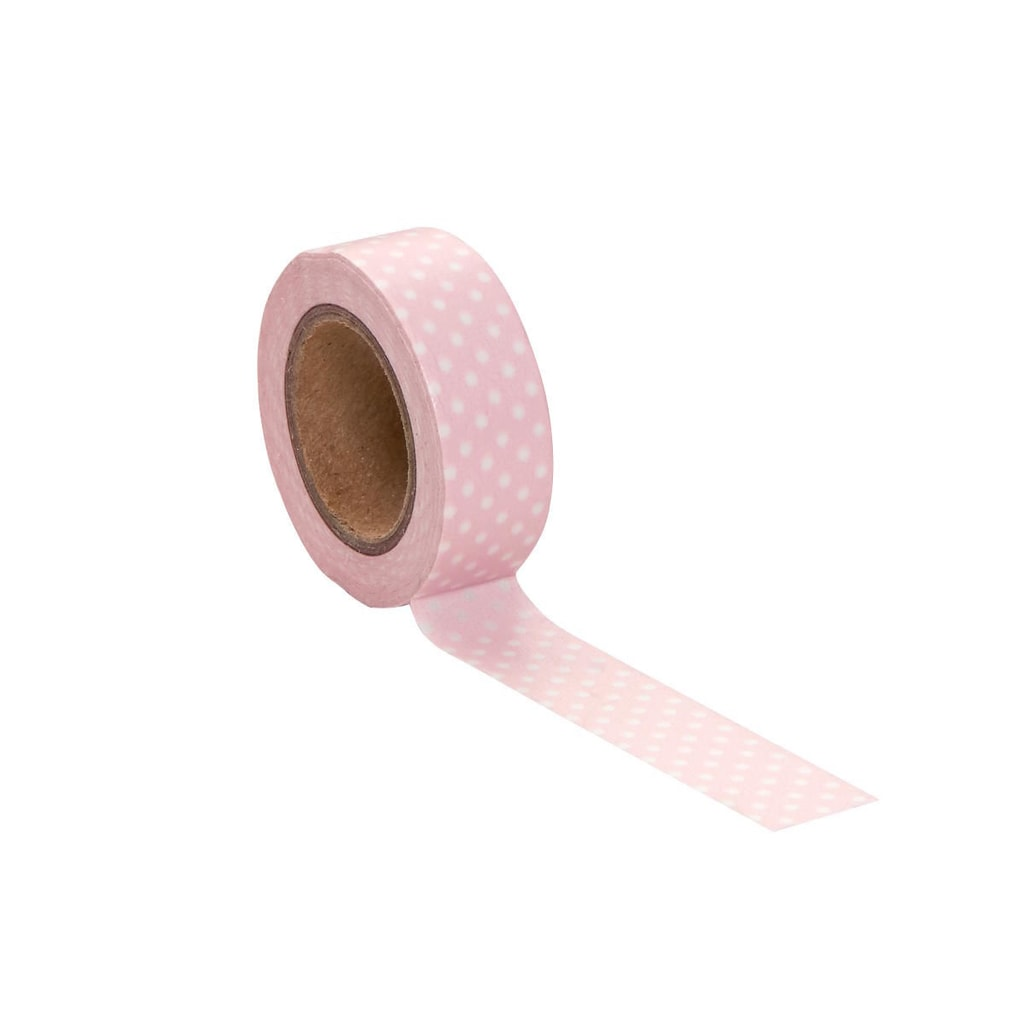TAPE Lepicí páska puntíky - rosa/bílá