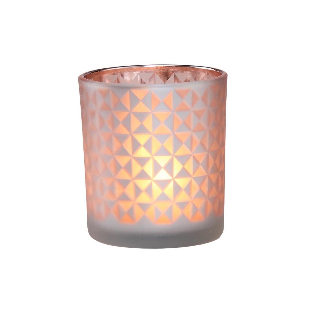 DELIGHT Svícen na čajovou svíčku kosočtverce - růžová