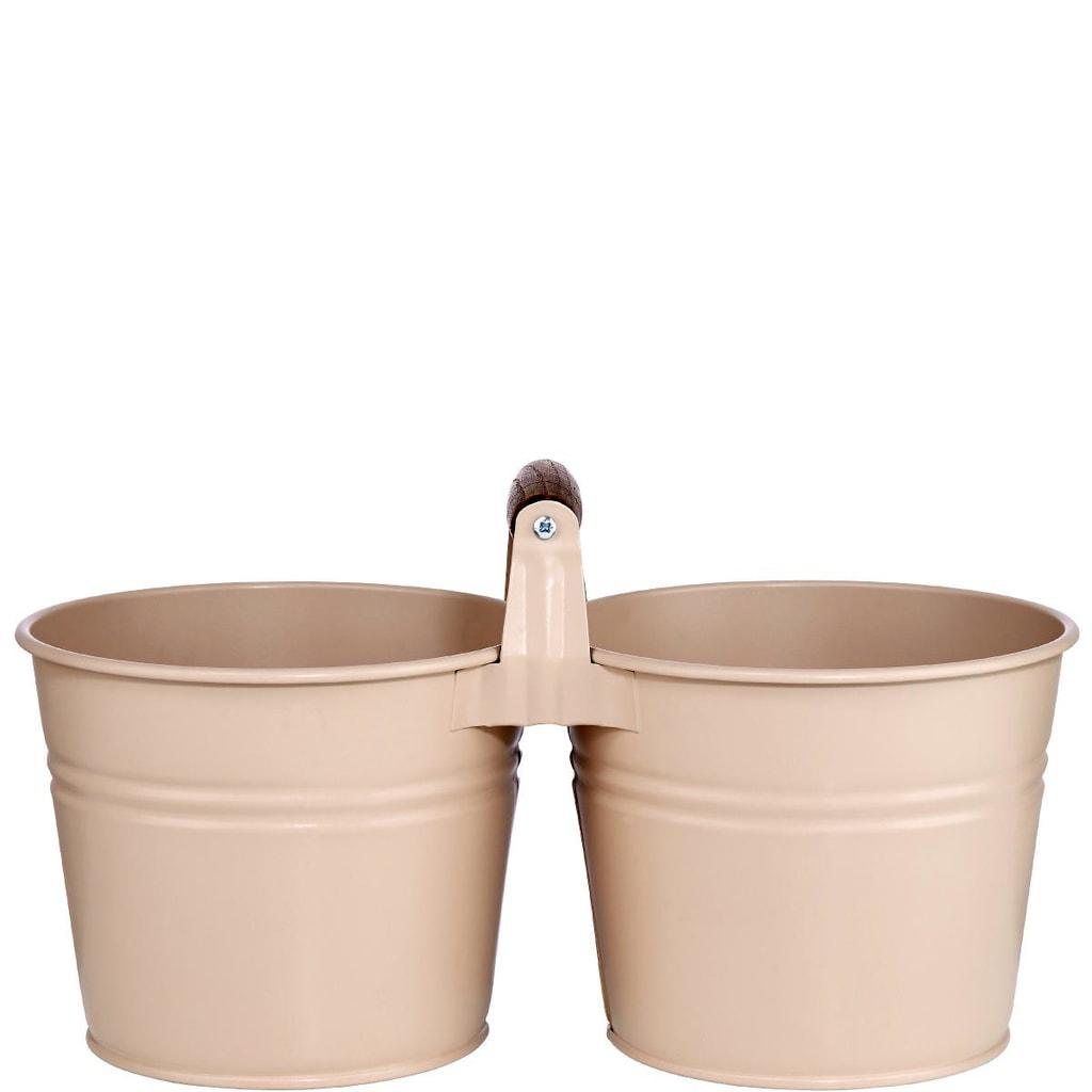 ZINC Dvojitý květináč - šedohnědá