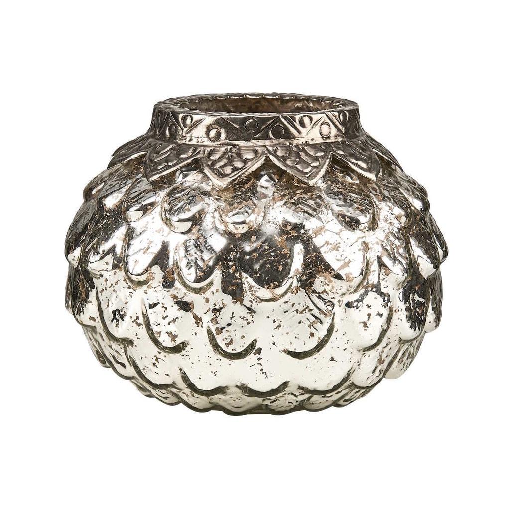 SILVER CONE Svícen na čajovou svíčku 9 cm