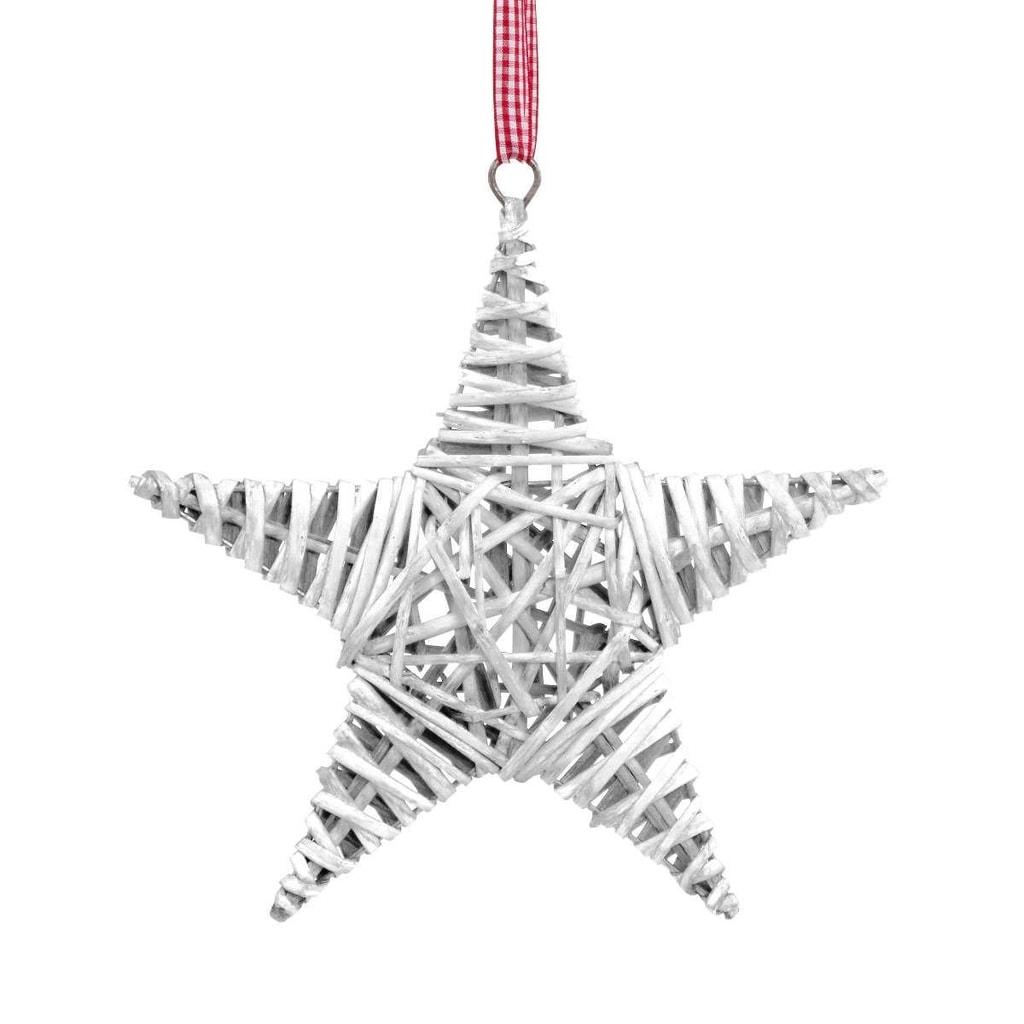 HANG ON Hvězda proutěná 25 cm - bílá