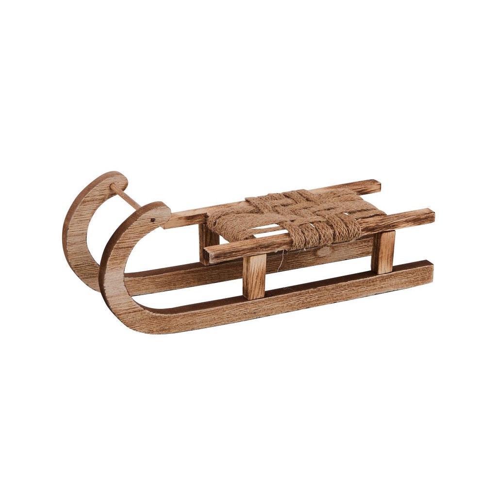 X-MAS Dekorace dřevěné sáně malé