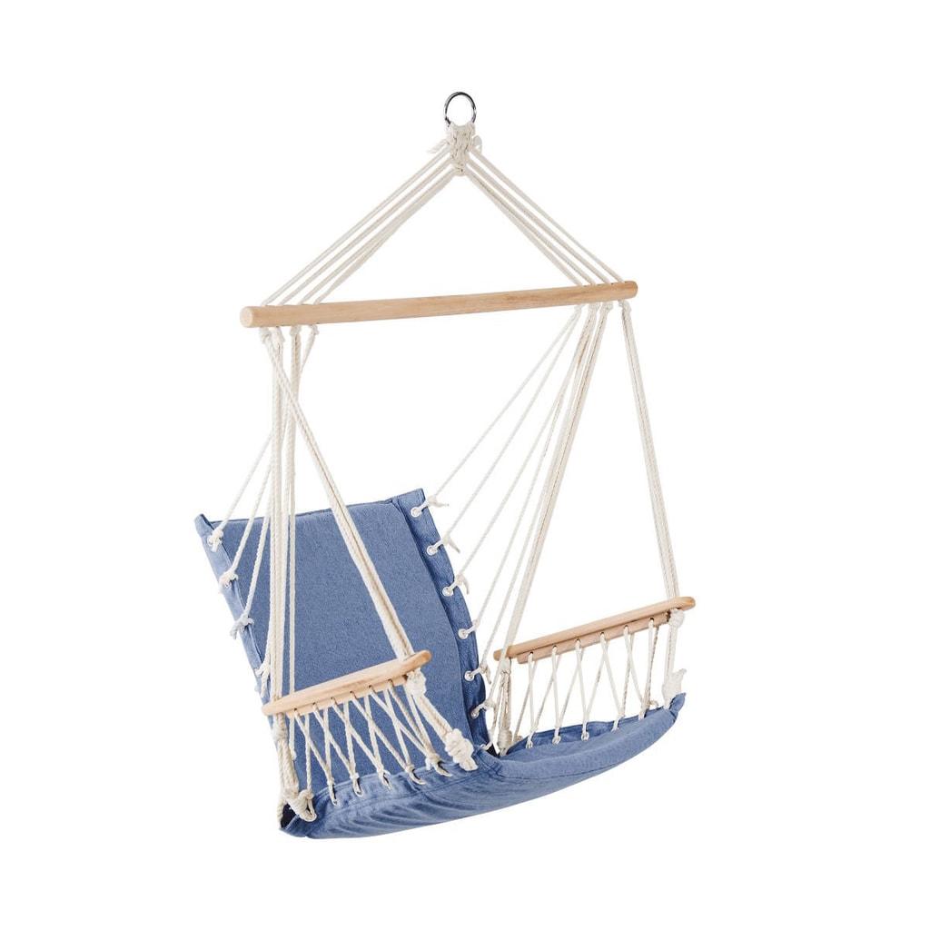 BABOON Závěsné křeslo s dřevěnými područkami - modrá