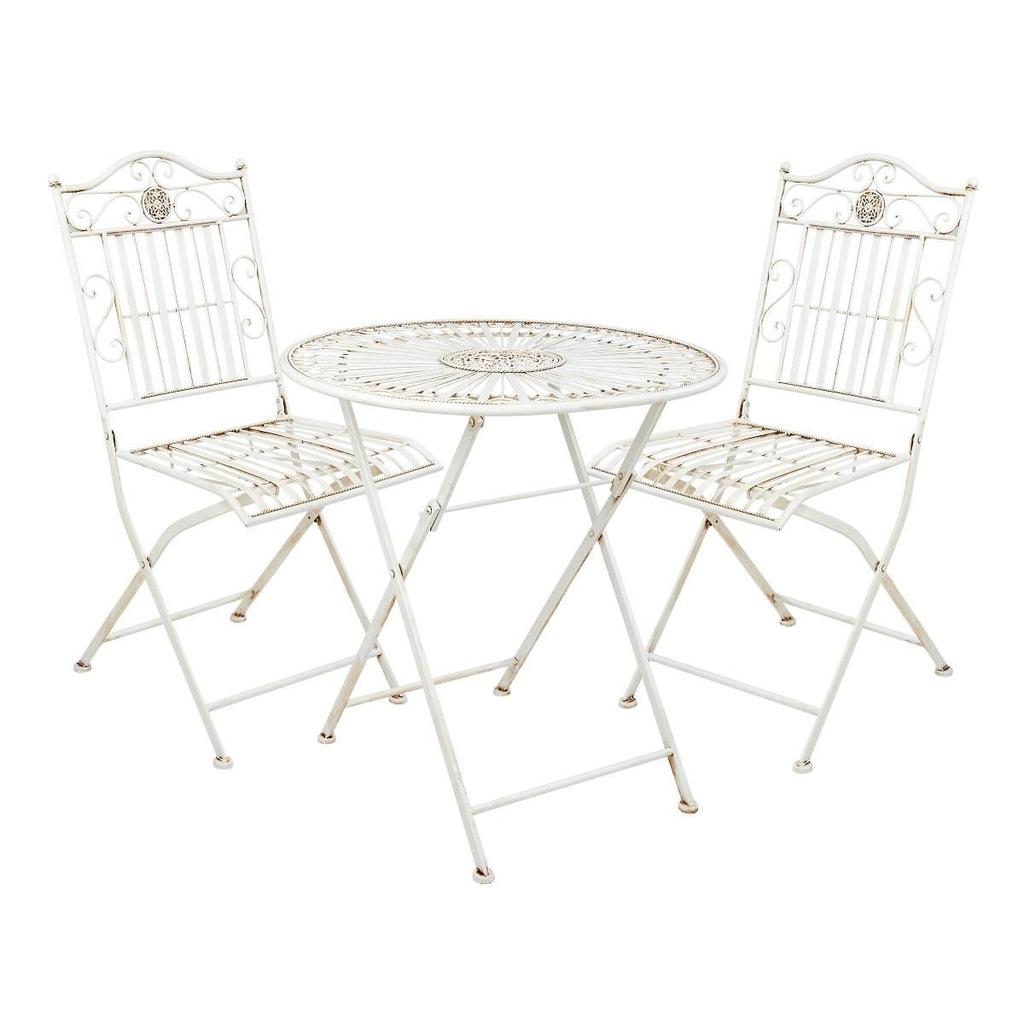 TERRACE HILL Balkónový set 2 ks židle a 1 ks stůl - krémová