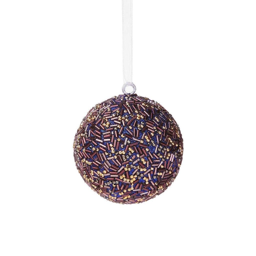 HANG ON Ozdoba vánoční koule s perlami 8 cm - fialová