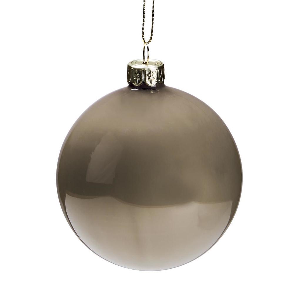 HANG ON Skleněná koule putníky 8 cm - šedá/bílá