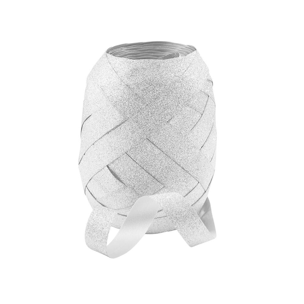 CURLS Stuha nařasená třpytivá 20 m - stříbrná
