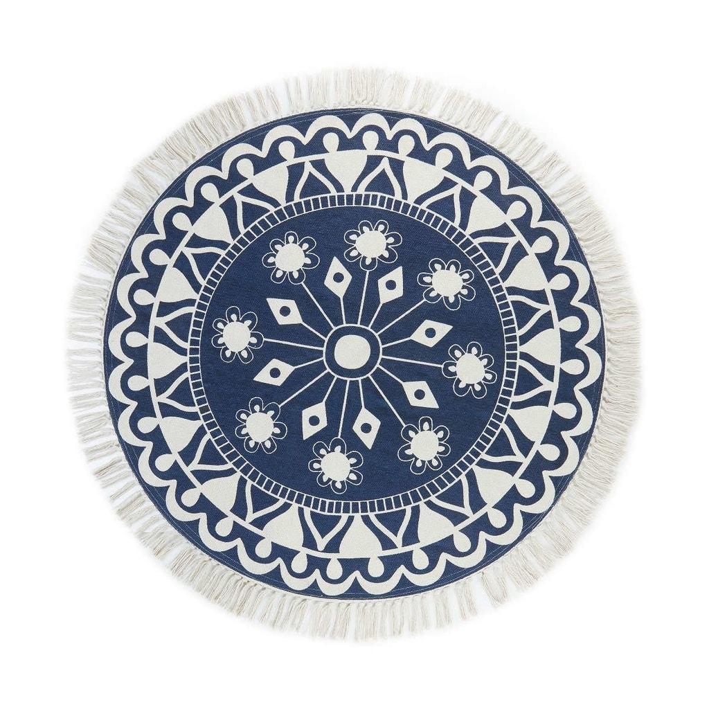 TAPIS Koberec hvězdy kulatý 90 cm - modrá/bílá