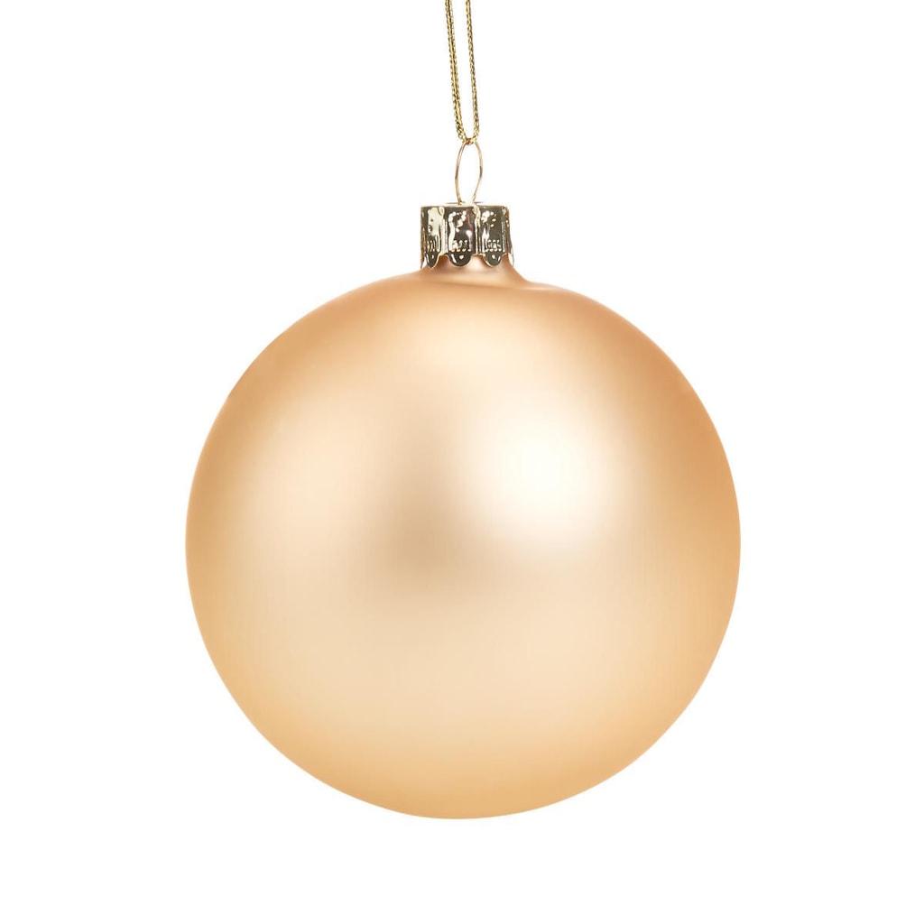 HANG ON Skleněná koule 8 cm - zlatá matná