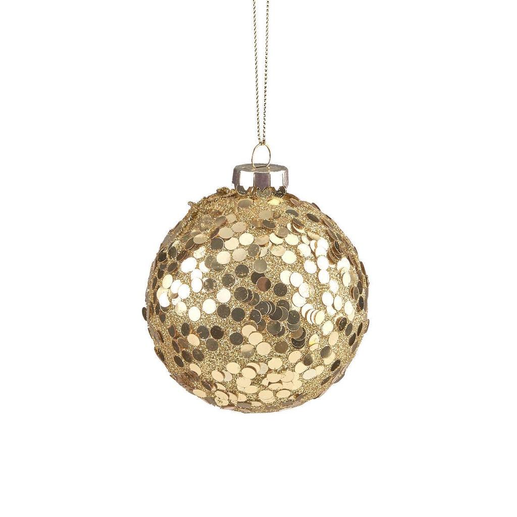 HANG ON Ozdoba vánoční koule třpytivá 8 cm - zlatá