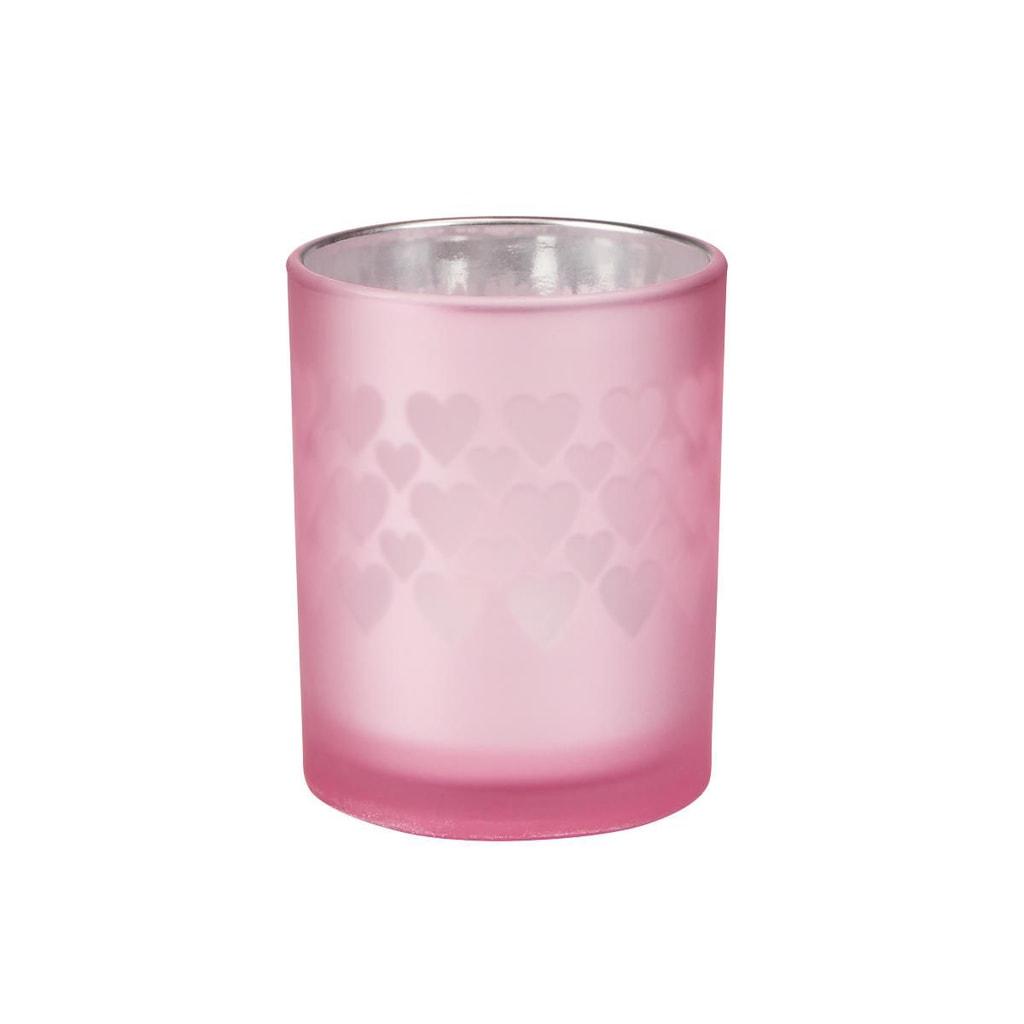 DELIGHT Svícen na čajovou svíčku srdce malý - sv. růžová