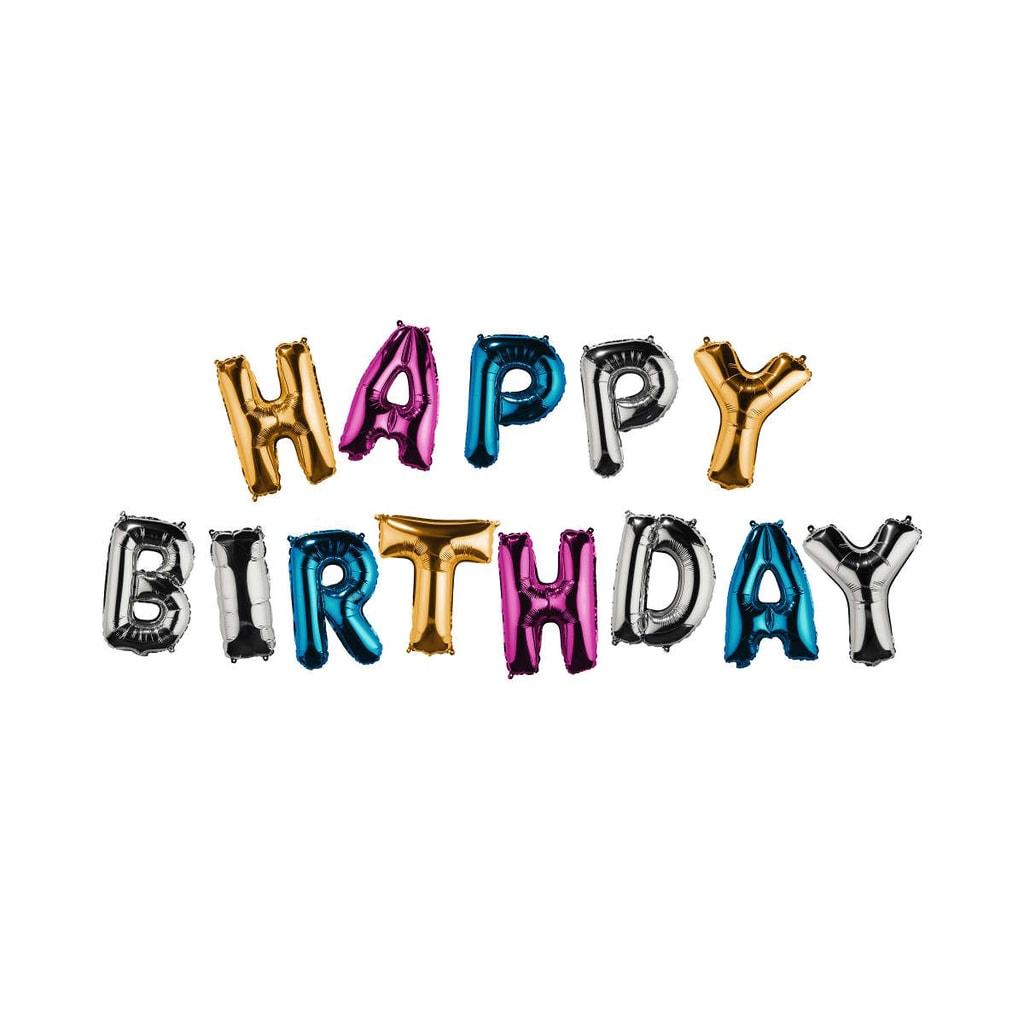 UPPER CLASS Fóliový balónek Happy Birthday - mix