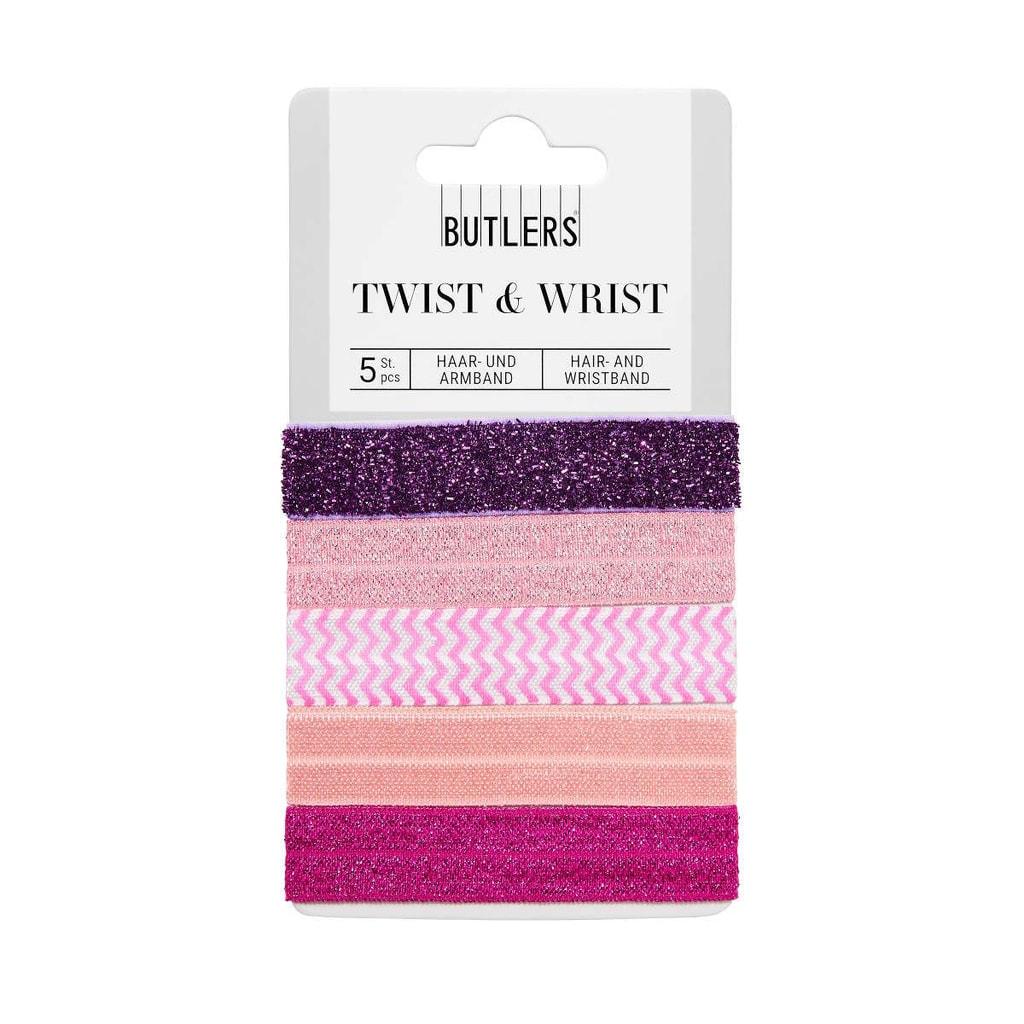 TWIST & WRIST Gumička na vlasy  a náramek v jednom - růžová