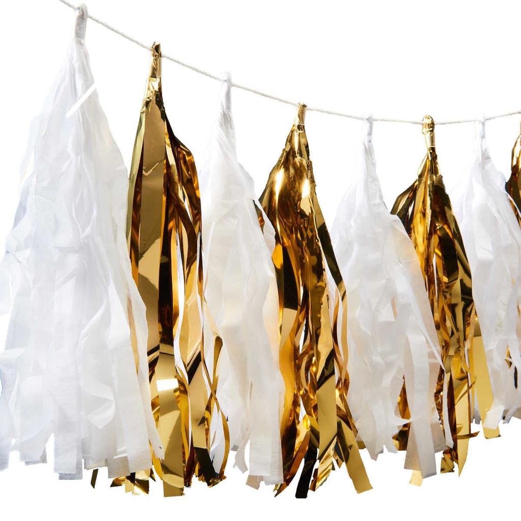 BANNER DAY Girlanda střapec - zlatá/bílá