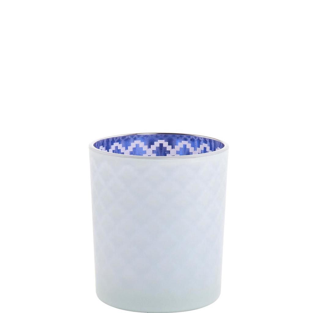 DELIGHT Svícen 10 cm - modrá/bílá